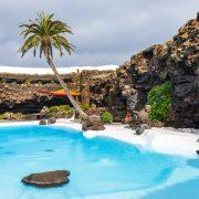 Jameos del Agua pool in volcanic cave, Lanzarote, Canary Islands, Spain